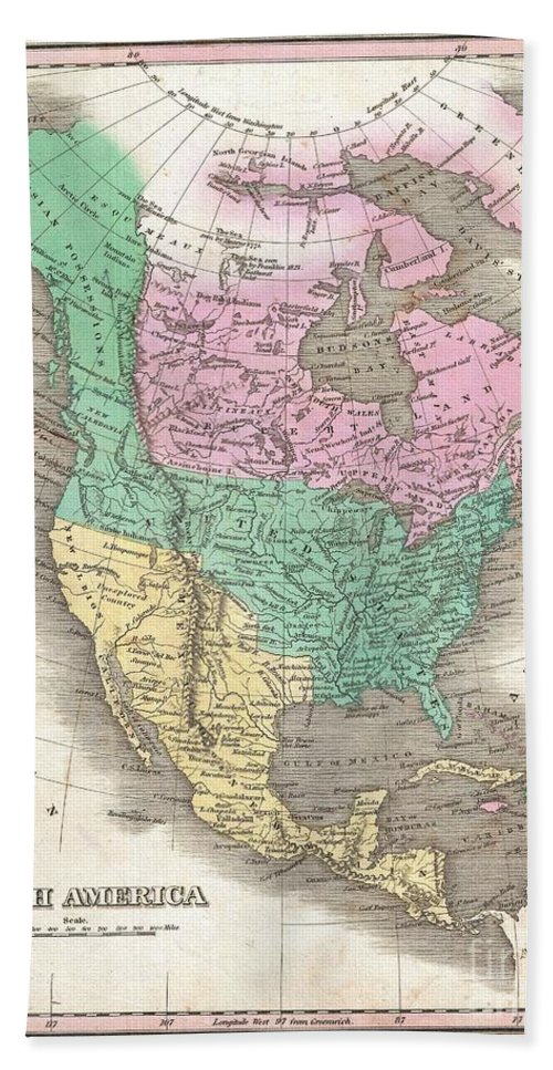 This Is Finley's Desirable 1827 Map Of The North America. Covers The Continent From Panama To The Arctic Circle Bath Sheet featuring the photograph 1827 Finley Map Of North America by Paul Fearn