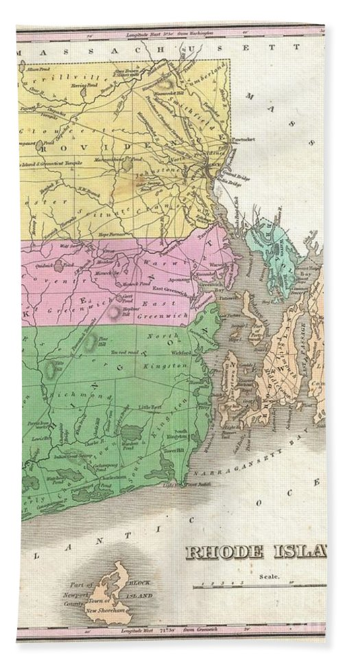 A Beautiful Example Of Finley's Important 1827 Map Of Rhode Island. Includes Block Island.  Depicts The State With Moderate Detail In Finley's Classic Minimalist Style. Shows River Ways Bath Sheet featuring the photograph 1827 Finley Map Of Rhode Island by Paul Fearn