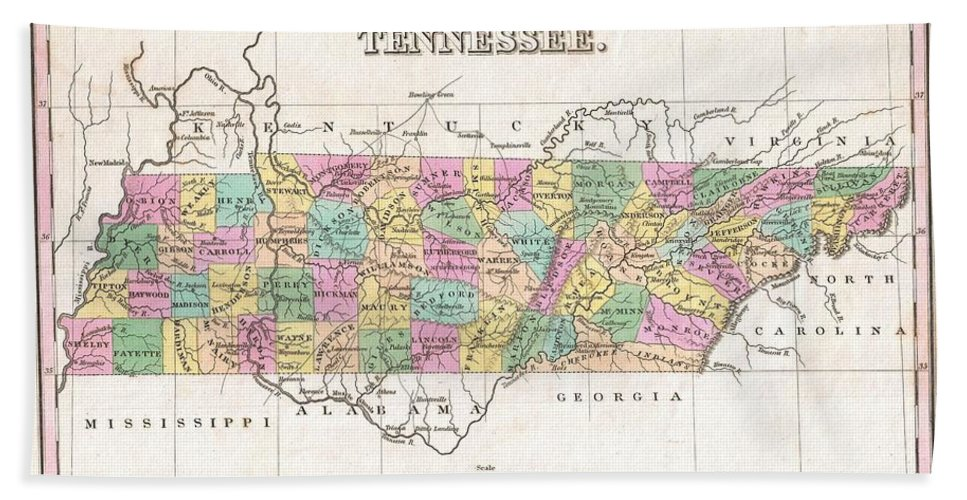 A Beautiful Example Of Finley's Important 1827 Map Of Tennessee. Depicts The State With Moderate Detail In Finley's Classic Minimalist Style. Shows River Ways Bath Sheet featuring the photograph 1827 Finley Map Of Tennessee by Paul Fearn
