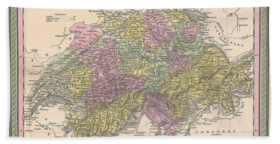 Hand Towel featuring the photograph 1853 Mitchell Map Of Switzerland by Paul Fearn