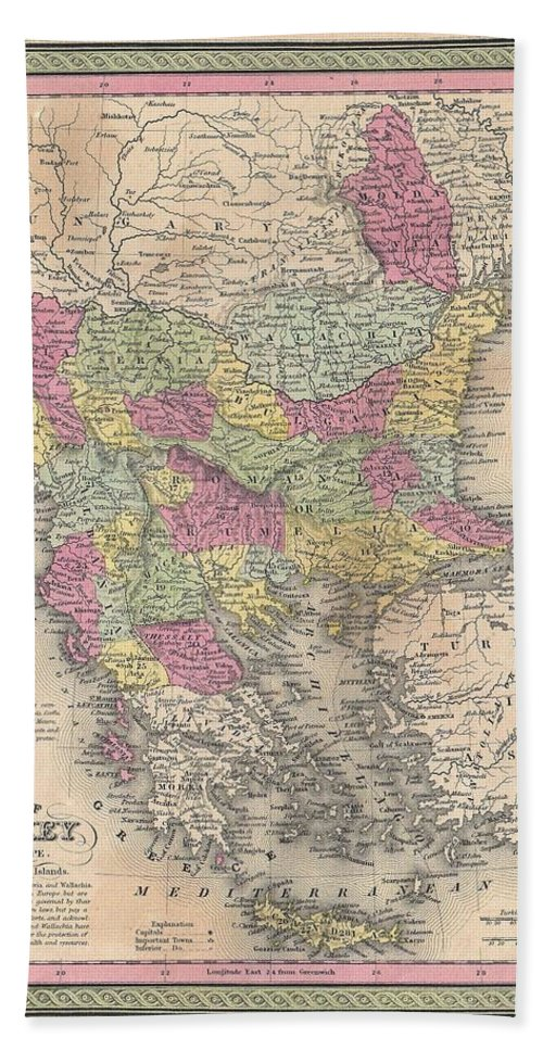 Hand Towel featuring the photograph 1853 Mitchell Map Of Turkey In Europe And Greece Greece Balkans Macedonia by Paul Fearn