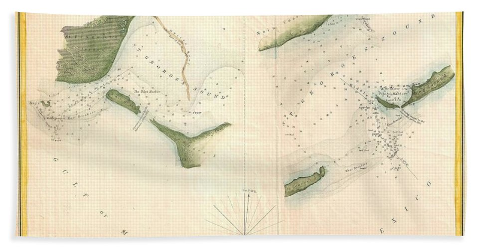 Hand Towel featuring the photograph 1853 Us Coast Survey Chart Or Map Of St Georges Sound Florida by Paul Fearn