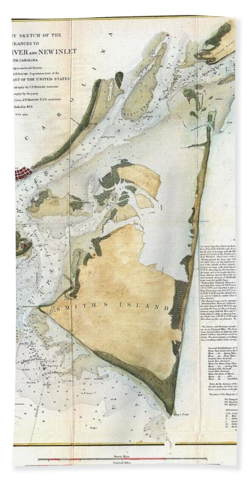 Hand Towel featuring the photograph 1853 Us Coast Survey Map Of Key Biscayne Bay Key West And The Cedar Keys Florida by Paul Fearn