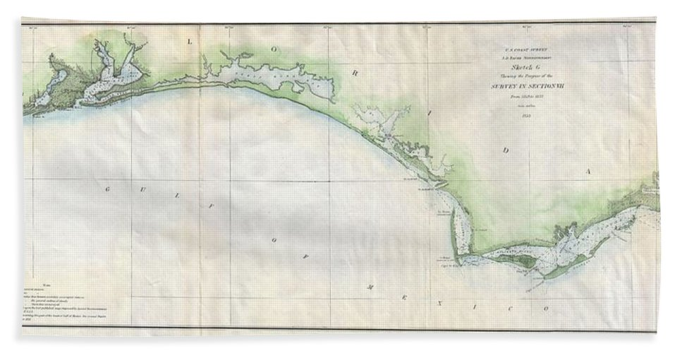 Hand Towel featuring the photograph 1853 Us Coast Survey Map Of The Western Florida Panhandle by Paul Fearn