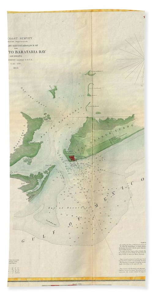 Hand Towel featuring the photograph 1853 Us Coast Survey Map Or Chart Of Bartaria Bay Louisiana by Paul Fearn