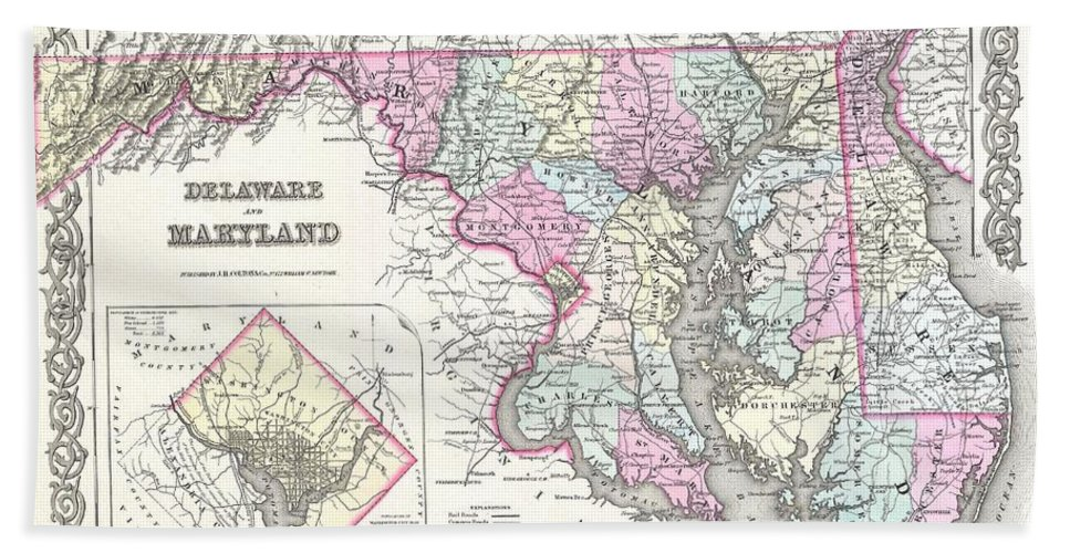 Hand Towel featuring the photograph 1855 Colton Map Of Delaware Maryland And Washington Dc by Paul Fearn
