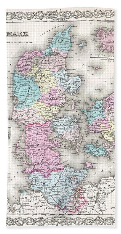 Hand Towel featuring the photograph 1855 Colton Map Of Denmark by Paul Fearn