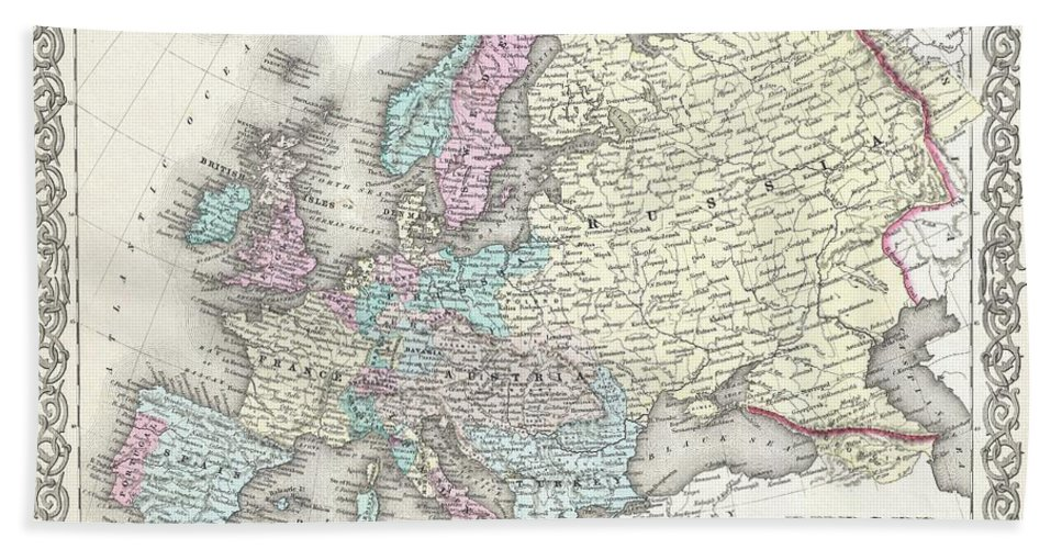 Hand Towel featuring the photograph 1855 Colton Map Of Europe by Paul Fearn