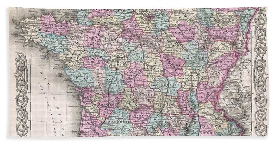 Hand Towel featuring the photograph 1855 Colton Map Of France by Paul Fearn