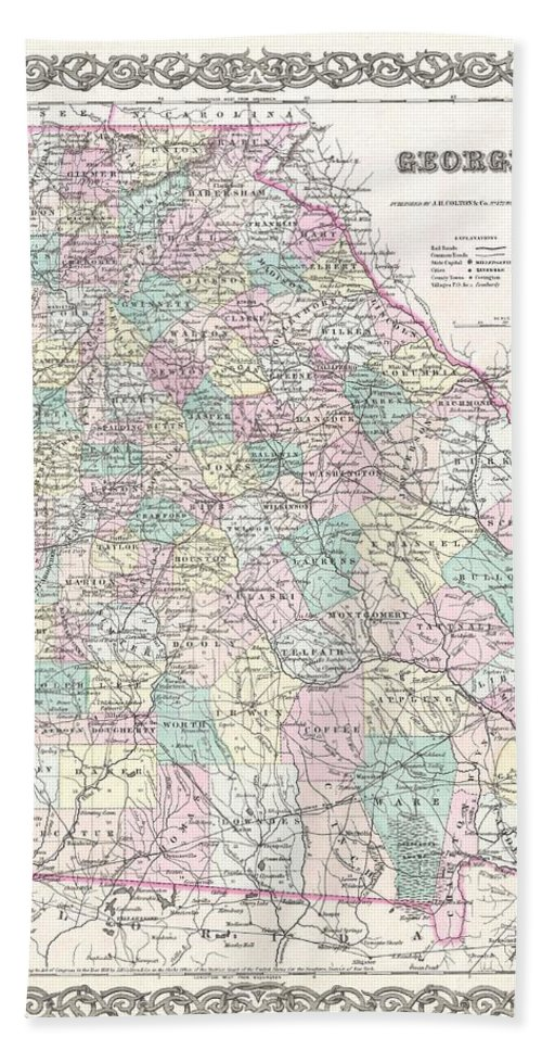 Hand Towel featuring the photograph 1855 Colton Map Of Georgia by Paul Fearn