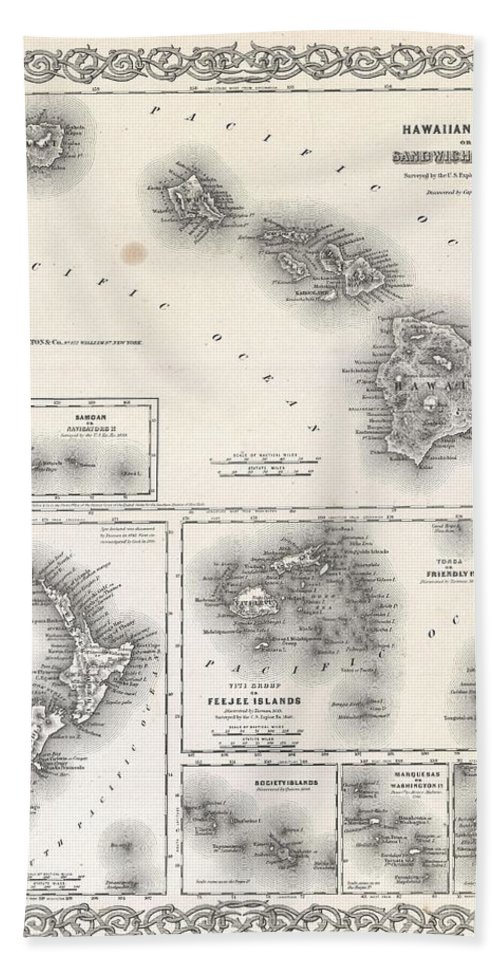 Hand Towel featuring the photograph 1855 Colton Map Of Hawaii And New Zealand by Paul Fearn