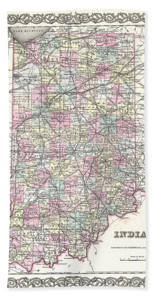 Hand Towel featuring the photograph 1855 Colton Map Of Indiana by Paul Fearn