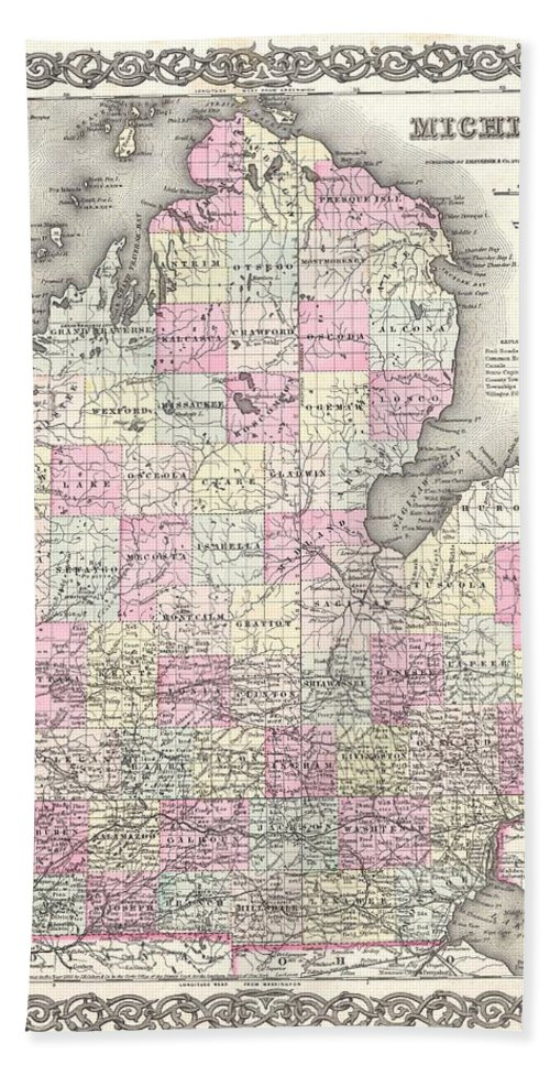 Hand Towel featuring the photograph 1855 Colton Map Of Michigan by Paul Fearn