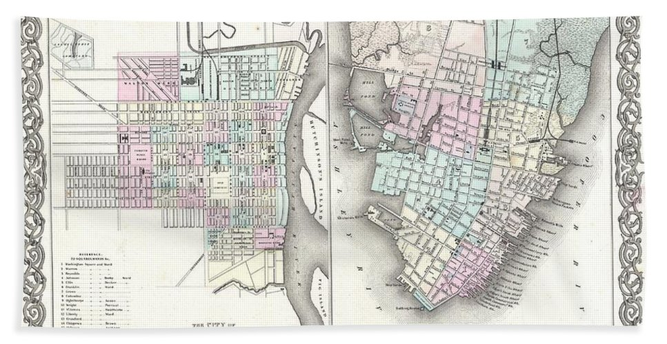 Bath Towel featuring the photograph 1855 Colton Plan Or Map Of Charleston South Carolina And Savannah Georgia by Paul Fearn