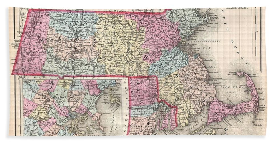 Bath Sheet featuring the photograph 1857 Colton Map Of Massachusetts And Rhode Island by Paul Fearn