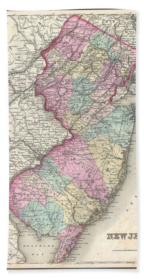 Bath Sheet featuring the photograph 1857 Colton Map Of New Jersey by Paul Fearn