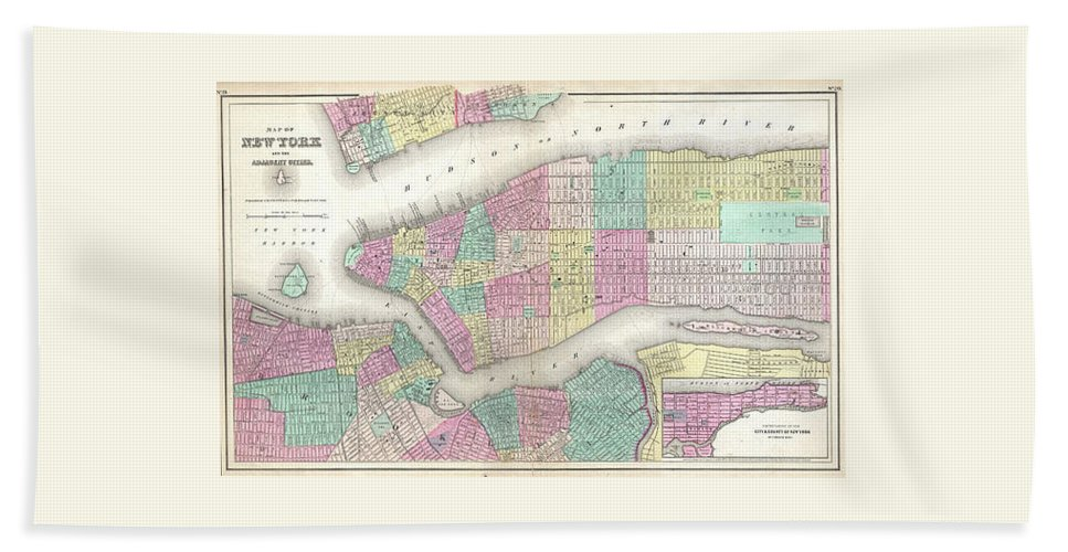 Bath Sheet featuring the photograph 1857 Colton Map Of New York City by Paul Fearn