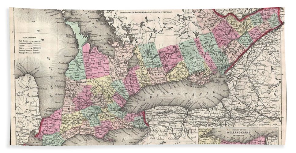 Bath Sheet featuring the photograph 1857 Colton Map Of Ontario Canada by Paul Fearn