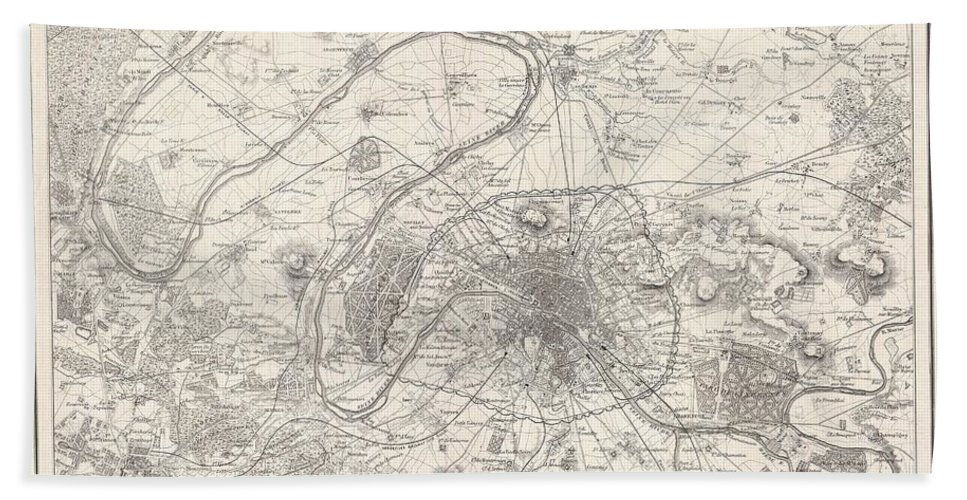 Bath Sheet featuring the photograph 1857 Colton Map Of Paris by Paul Fearn