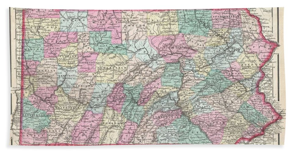 Bath Sheet featuring the photograph 1857 Colton Map Of Pennsylvania by Paul Fearn