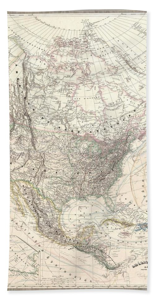 Bath Sheet featuring the photograph 1857 Dufour Map Of North America by Paul Fearn