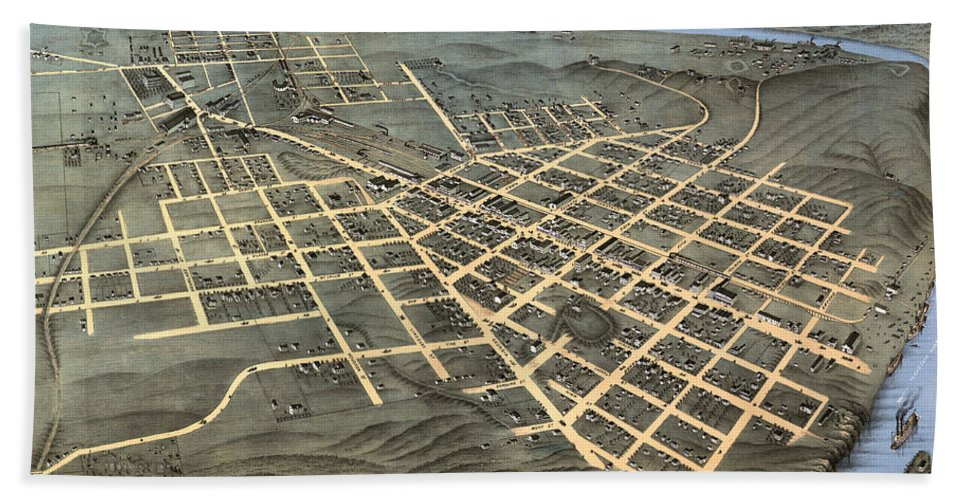 Map Hand Towel featuring the photograph 1871 Birds Eye Map Of Chattanooga by Stephen Stookey