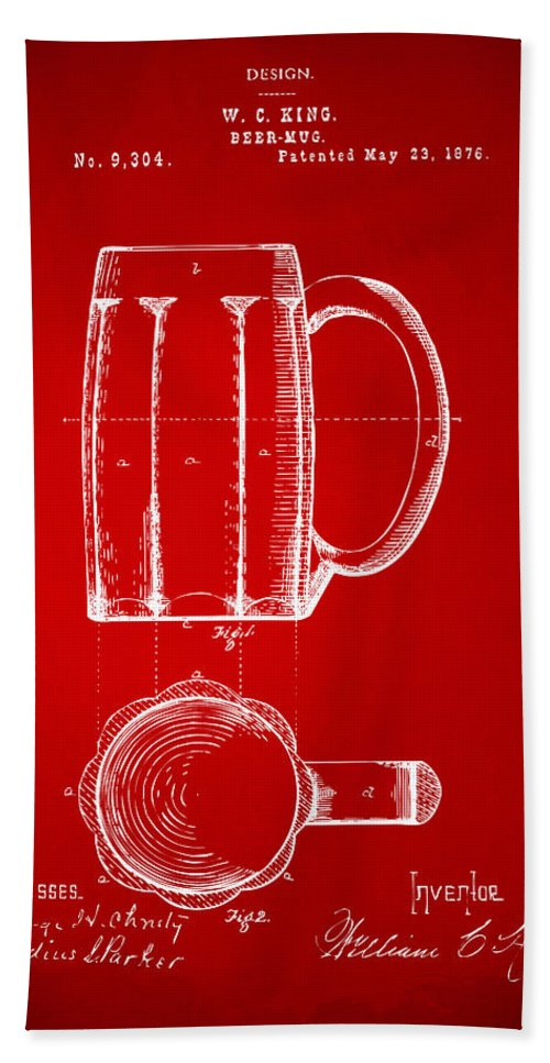 Beer Mug Bath Sheet featuring the digital art 1876 Beer Mug Patent Artwork - Red by Nikki Marie Smith
