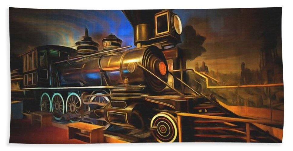 Santa Fe Railroad Locomotive Bath Sheet featuring the painting 1880 Steam Locomotive by L Wright
