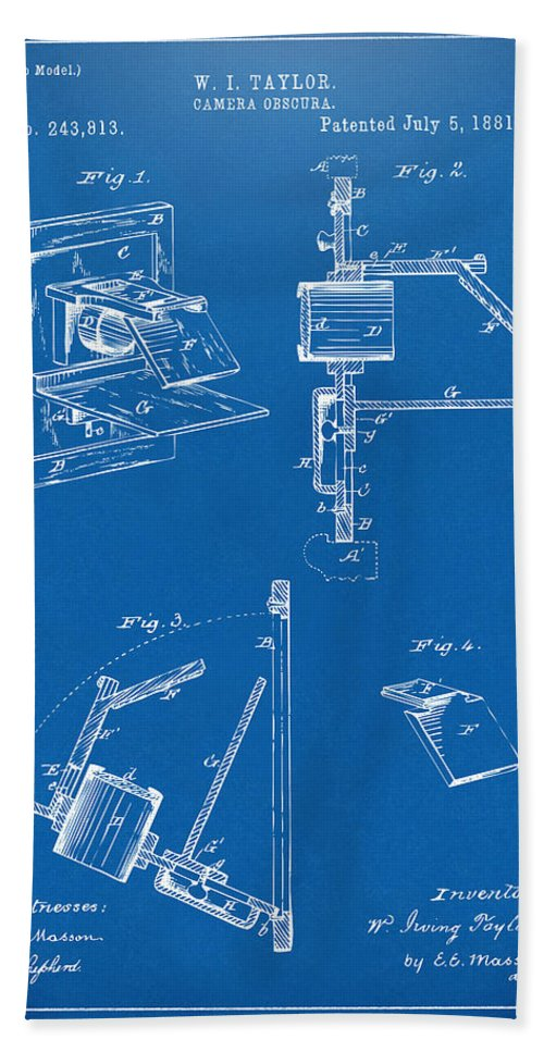 Camera Obscura Bath Sheet featuring the digital art 1881 Taylor Camera Obscura Patent Blueprint by Nikki Marie Smith