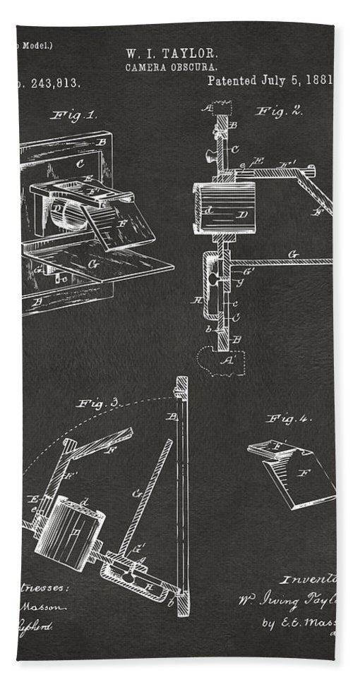 Camera Obscura Hand Towel featuring the digital art 1881 Taylor Camera Obscura Patent Gray by Nikki Marie Smith