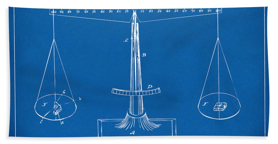 1885 balance weighing scale patent artwork blueprint hand towel for justice hand towel featuring the digital art 1885 balance weighing scale patent artwork blueprint by nikki malvernweather Image collections