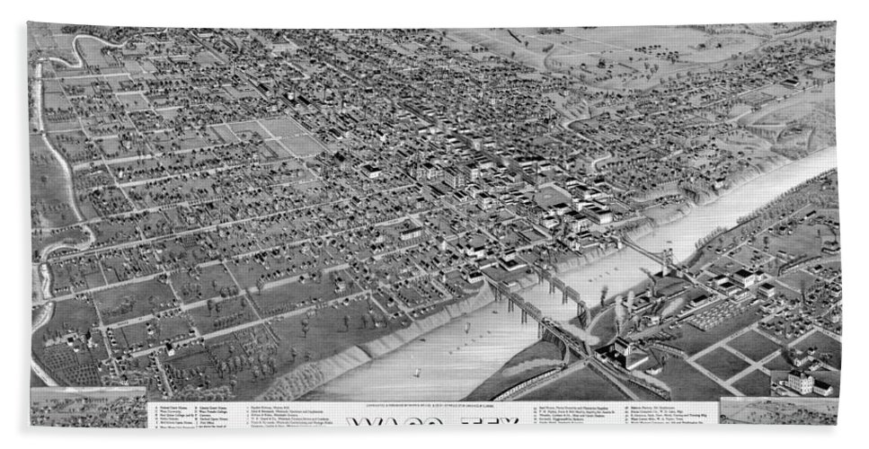 Waco Hand Towel featuring the photograph 1886 Vintage Map Of Waco Texas by Stephen Stookey