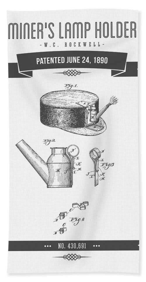 Mining Bath Sheet featuring the digital art 1890 Miners Lamp Holder Patent Drawing - Retro Gray by Aged Pixel