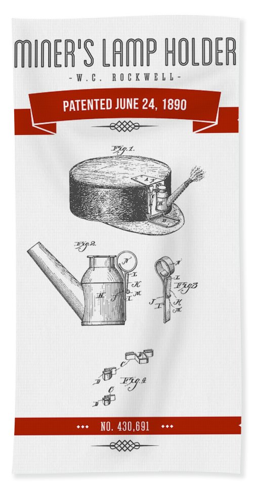 Mining Hand Towel featuring the digital art 1890 Miners Lamp Holder Patent Drawing - Retro Red by Aged Pixel