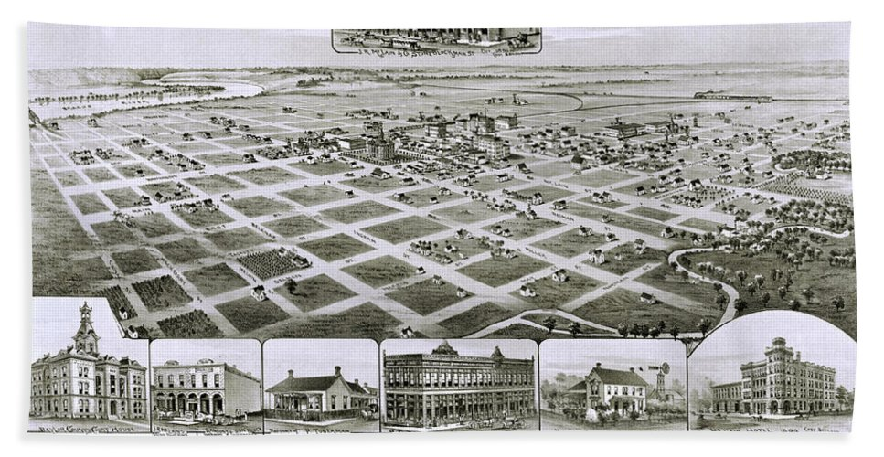 Map Hand Towel featuring the photograph 1890 Vintage Map Of Seymour Texas by Stephen Stookey