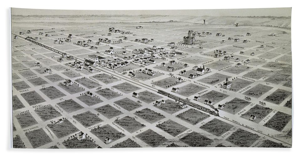 Map Hand Towel featuring the photograph 1890 Vintage Map Of Childress Texas by Stephen Stookey