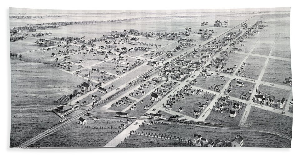 Map Hand Towel featuring the photograph 1890 Vintage Map Of Plano Texas by Stephen Stookey