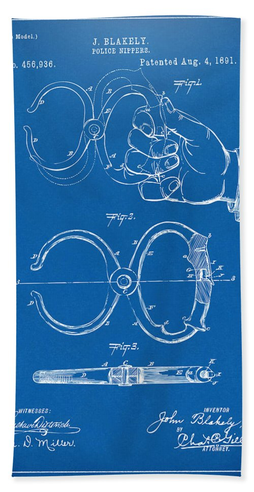 1891 police nippers handcuffs patent artwork blueprint hand towel police hand towel featuring the digital art 1891 police nippers handcuffs patent artwork blueprint by malvernweather Images