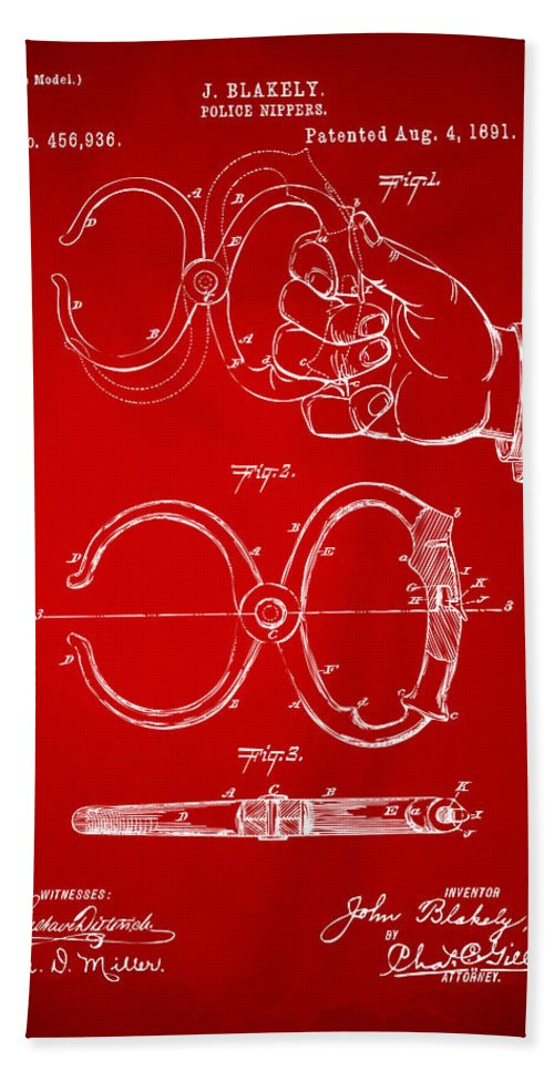 Police Hand Towel featuring the digital art 1891 Police Nippers Handcuffs Patent Artwork - Red by Nikki Marie Smith