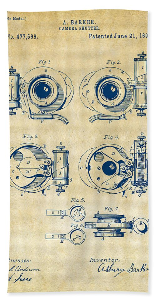 Camera Hand Towel featuring the digital art 1892 Barker Camera Shutter Patent Vintage by Nikki Marie Smith