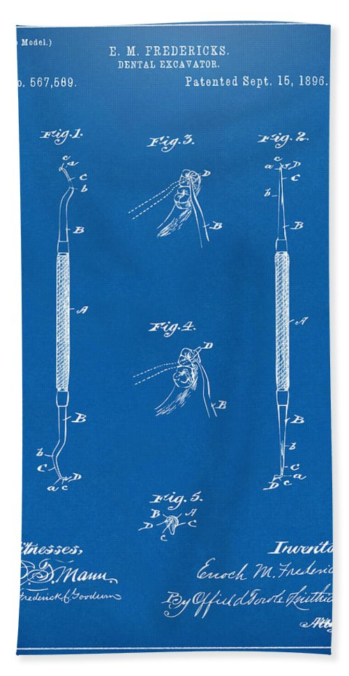 Dental Excavator Hand Towel featuring the digital art 1896 Dental Excavator Patent Blueprint by Nikki Marie Smith