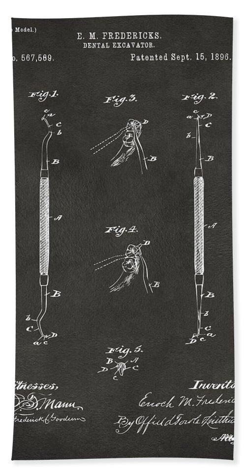 Dental Excavator Hand Towel featuring the digital art 1896 Dental Excavator Patent Gray by Nikki Marie Smith