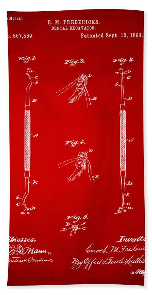 Dental Excavator Hand Towel featuring the digital art 1896 Dental Excavator Patent Red by Nikki Marie Smith