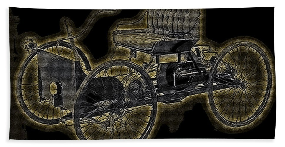 1896 Quadricycle Henry Fords First Car Hand Towel featuring the digital art 1896 Quadricycle Henry Fords First Car by Marvin Blaine