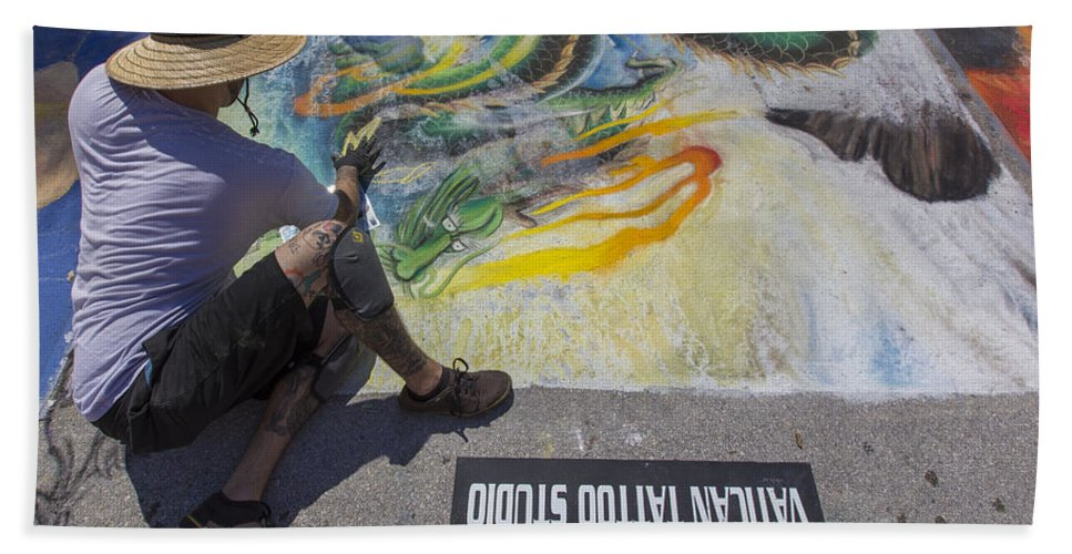 Florida Bath Sheet featuring the photograph Lake Worth Street Painting Festival by Debra and Dave Vanderlaan