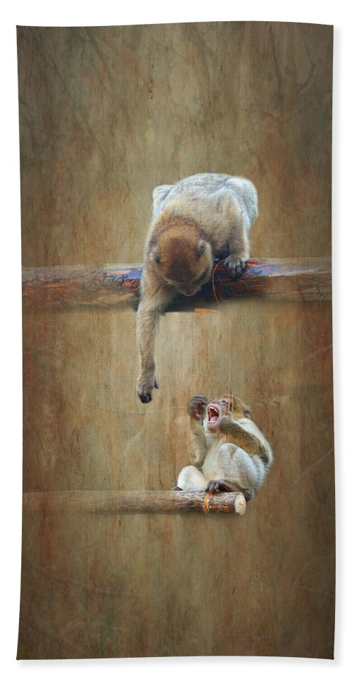 Monkey Bath Sheet featuring the mixed media Monkey by Heike Hultsch