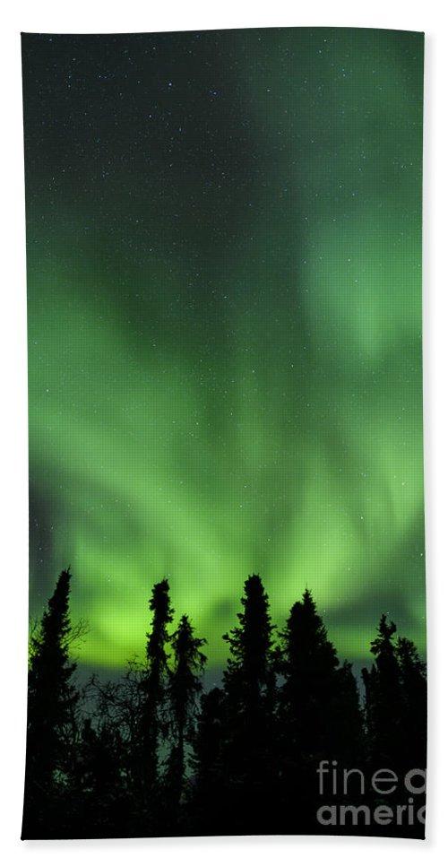 Science Bath Sheet featuring the photograph The Aurora Borealis by John Shaw