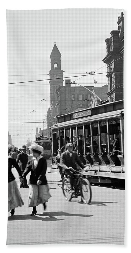 Photography Bath Towel featuring the photograph 1900s 1910s 1912 Street Scene by Vintage Images