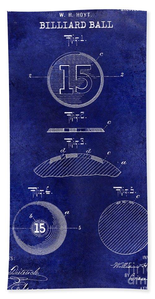 1909 Hand Towel featuring the photograph 1902 Billiard Ball Patent Drawing Blue by Jon Neidert