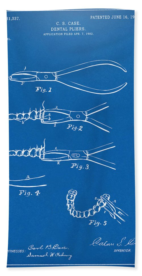 Dental Pliers Bath Sheet featuring the digital art 1903 Dental Pliers Patent Blueprint by Nikki Marie Smith
